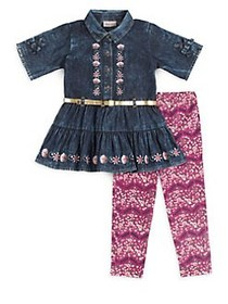 Little Lass Little Girl's Two-Piece Denim Top and