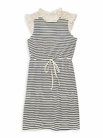 Monteau Girl's Fit-&-Flare Striped Dress OFF WHITE