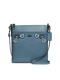 COACH Leather Heart Crossbody Bag BLUE