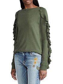 Lauren Ralph Lauren Ruffled Silk-Blend Sweater GRE