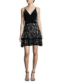 Xscape Embroidered Fit-and-Flare Dress BLACK STONE