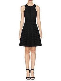 Adelyn Rae Woven Halter Fit-and-Flare Dress BLACK