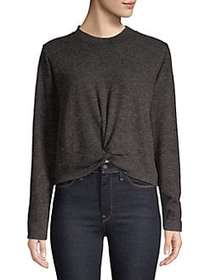 Design Lab Heathered Twist-Front Top CHARCOAL