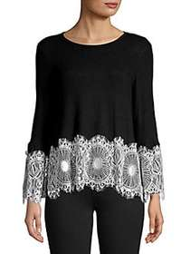 Design Lab Lace Bell-Sleeve Top BLACK WHITE