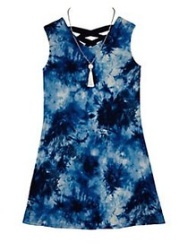 Ally B Girl's Printed Lace-Up Dress BLUE