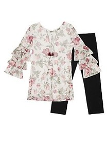 Ally B Girl's Two-Piece Floral Top and Pants Set W