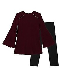 Ally B Girl's Two-Piece Studded Bell-Sleeve Tunic