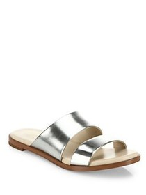 Cole Haan Anica Metallic Leather Slides SILVER