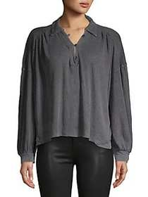 Free People Gathered Long-Sleeve Top CHARCOAL