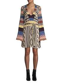 Free People Patchwork Bell Sleeve Dress NAVY