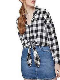 Miss Selfridge Checked Tie-Front Button-Down Shirt