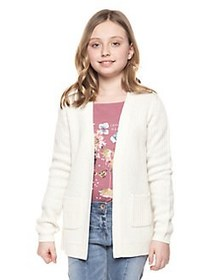 Dex Girl's Ribbed Open-Front Cardigan IVORY