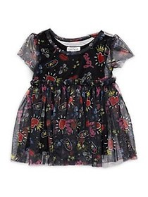 Flapdoodles Little Girl's Printed Mesh Tunic BLACK