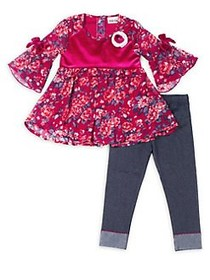 Little Lass Little Girl's Two-Piece Floral Top and