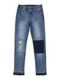 Manguun Girl's Patchwork Pull-On Jeans BLUE