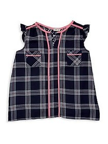 Monteau Girl's Plaid Lace-Trimmed Top NAVY