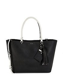 Calvin Klein Large Susan Leather Tote Bag BLACK WH