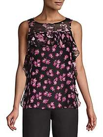 Ellen Tracy Flounce Side Floral Top DITSY FLORAL