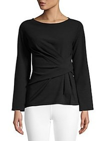 Ellen Tracy Twist-Front Long-Sleeve Top BLACK
