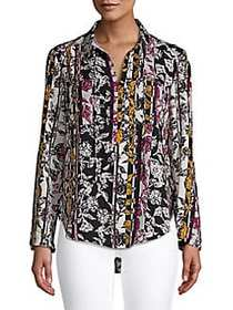 JONES NEW YORK Paisley-Print Top BLACK RED