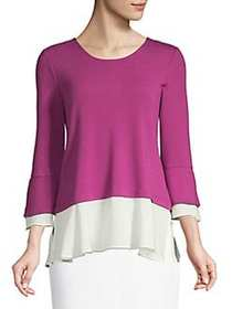 JONES NEW YORK Romantic Bell-Sleeve Top DARK MAGEN