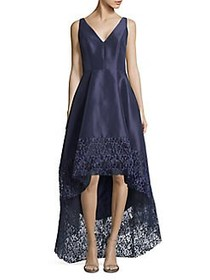 Betsy & Adam Sleeveless Hi-Lo Embroidered Gown NAV