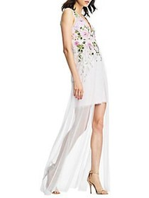 Aidan by Aidan Mattox Embroidered Floral Gown PINK