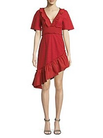 Finders Patterned Cotton Midi Dress RED