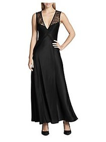Donna Karan Lace Paneled Cocktail Dress BLACK