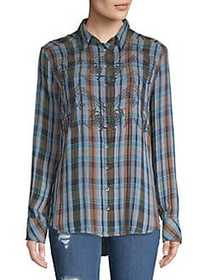 Free People Embroidered Plaid Button-Down Shirt BL
