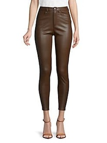 Free People Skinny Faux Leather Jeans BROWN