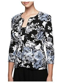 Alex Evenings Two-Piece Floral Jacket and Camisole