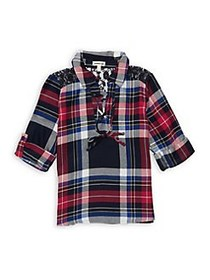 Monteau Girl's Plaid Lace-Up Top NAVY RED