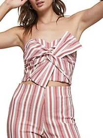Miss Selfridge Striped Twisted Front Top RED WHITE