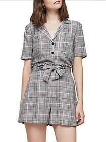 Miss Selfridge Checkered Cropped Bowling Top GREY