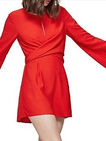 Miss Selfridge Twisted Front Jumpsuit RED