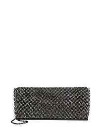 La Regale Faux Crystal Mesh Crossbody Bag GUNMETAL