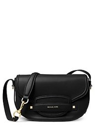 MICHAEL Michael Kors Cary Leather Saddle Bag BLACK