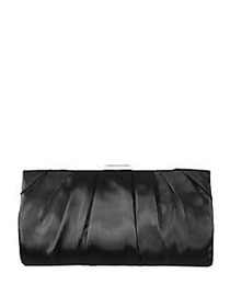 Nina Organza Pleated Frame Clutch BLACK