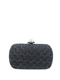 Sondra Roberts Textured Satin Box Bag BLACK