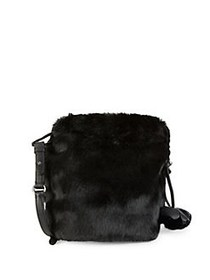 Vince Camuto Tassel Faux Fur Crossbody Bag ONYX