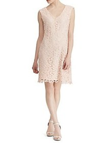 Lauren Ralph Lauren Scalloped Lace Cap-Sleeve Dres
