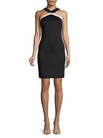 Vince Camuto Twist Top Halter Sheath Dress BLACK
