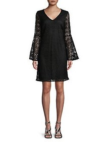Karl Lagerfeld Paris Bell-Sleeve Lace Shift Dress