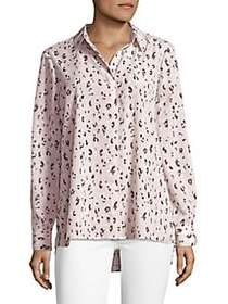 Ellen Tracy Printed Chiffon Button-Down Shirt ETCH