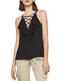 BCBGMAXAZRIA Lace-Up Ruffle Tank Top BLACK