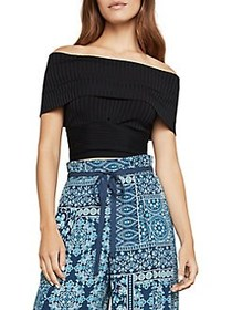 BCBGMAXAZRIA Wide Rib Foldover Crop To BLACK