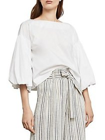 BCBGMAXAZRIA Bell-Sleeve Peasant Top WHITE