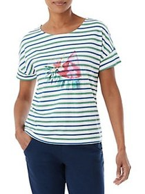 Olsen Multi-Stripe Watermelon Tee COBALT BLUE