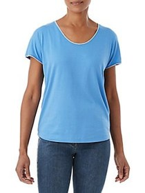 Olsen Stitch-Trim Scoopneck Tee CORNFLOWER